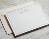 Letterpress Gold Foil Thank You Card Box Set with Blush Envelopes (Set of 10)