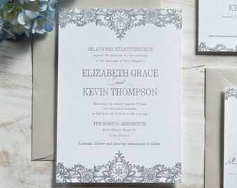 The Elizabeth Suite | Metallic Silver Foil Letterpress Invitation SAMPLE