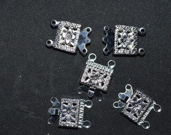 2-Strand Silver Plated Square Filligree Box Clasp - 5 pcs (3022504)