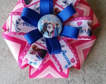 Frozen Hair Bow. Pink Chevron Grosgrain with Anna and Elsa Frozen print ribbon and Frozen Flatback.