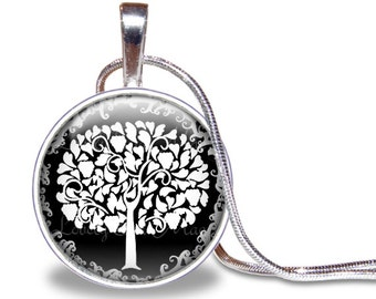 Tree Necklace, Tree Pendant, Glass Tile, Tree Jewelry, Tree of Life Necklace, Black & White Necklace, Nature Jewelry, Woodland, Silver Plate