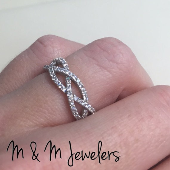 14K White Gold Micro Pave Eternity Diamond Infinity Band