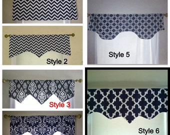 Navy window valance, scalloped valance,Navy  decorative valance, window treatment, window curtain, home decor window
