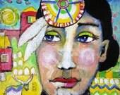 Read the signs - original mixed media painting - raw - folk art native art - Piarom