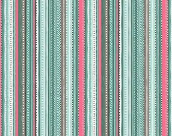 SALE Cats - Stripe Teal - Makower UK - Andover (1313-T4)