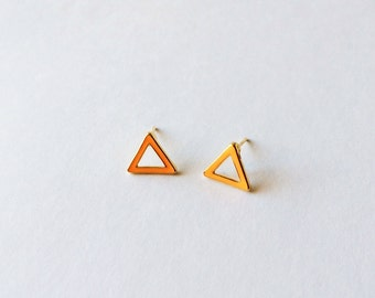 Orange Triangle Earrings - Orange earrings - Geometric earrings - Triangle earrings - Post earrings - Stud earrings - Minimalist earrings