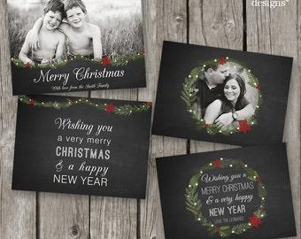 Holiday Christmas Card Set - Chalkboard Christmas Card Templates - Rustic Christmas Photo Cards - CS11