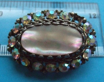 mother of pearl brooch silver clear pearlescent stones