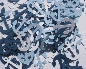 Anchor Confetti, Nautical Confetti, Navy, White and Blue Nautical Confetti, Party or Shower Confetti