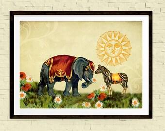 Nursery Art, Wall Art, Elephant Art, Vintage Decor, Whimsical Art, Love Print, Circus Poster, Collage Art, Large Wall Art, Elephant Print
