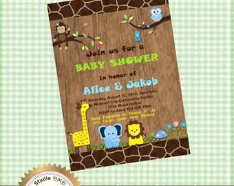 Jungle Animal Safari Baby Shower  Invitation - Printable DIY