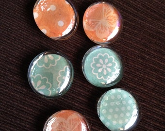 6 glass magnets