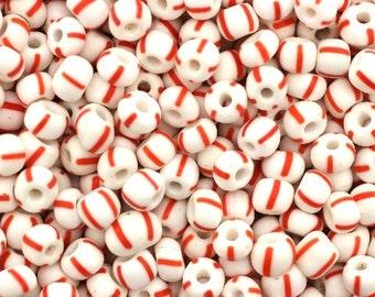 3/0 Seed Bead,Vintage Czechoslovakian Seed Beads,Czech Seed Beads,Striped Seed Beads, Item #: SED041669