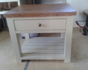 Chunky rustic kitchen island butchers block painted