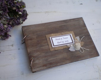 Personalised Wooden guestbook or photo album - Rustic Wedding guest book - Wood and burlap  - Best bridal shower gift-shabby chic wedding