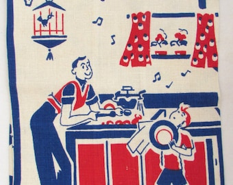 Vintage Mid Century Kitchen Towel - Vintage Dish Towel - Red White and Blue - Boys Doing Dishes -