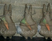 Primitive Easter Bunny rabbit with a carrot  tuck ornament