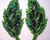SALE! Sequins & Beaded Green Leaf (PAIR) Appliques Left/Right