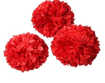 "Paper Pom Pom - Red - 8"""