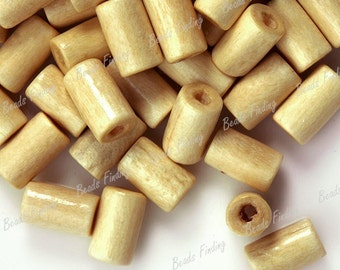 8x5 Ivory Natural Wooden Tube Beads