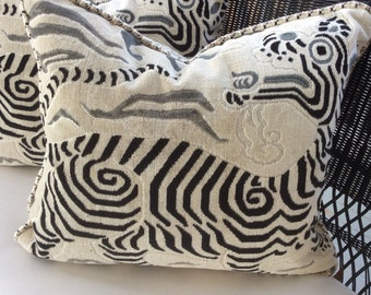 Clarence House Pillow Cover in White, Taupe & Black Tibet Dragon Design  23x20,  Down Insert Included