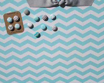 "Magnetic Bulletin Board 24"" x 18"" Fabric Covered magnet board, magnetic, aqua, grey, chevron, decorative bulletin board, Kitchen wall decor"