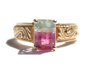 Rectangle Cut Tourmaline - BiColor Ring (Watermellon) (1697)
