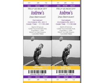 Football Ticket Invitation All Star MVP Birthday Party Purple and Yellow - Digital File