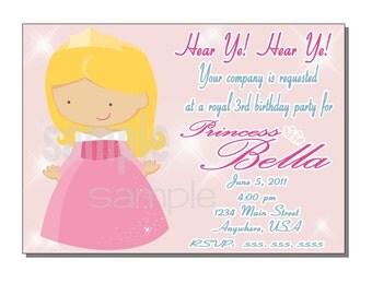 Princess Invitation Birthday Party- DIGITAL or PRINTED