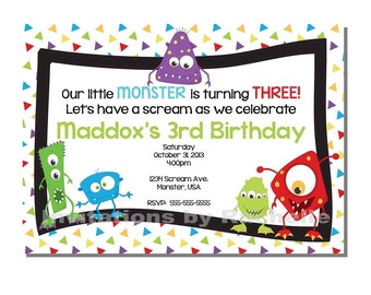 Monster Bash Invitation Birthday Party - DIGITAL or PRINTED