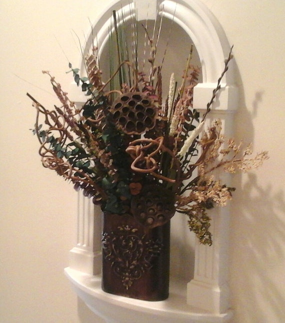 Wall Sconce For Dried Flowers : Dried Floral Wall Planter Wall Pocket Floral Wall Sconce