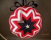 Handcrafted Quilted U. S.A. Ornament