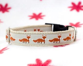 "Foxy hemp dog collar 1"" (25mm) wide, Dog collar with foxes, Fox dog collar,"