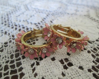 Vintage 1960's Pink Flower Painted/Enamel Clip Earrings with Rhinestone Centers   14014