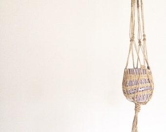 Jute Macrame Plant Hanger/Natural Jute/Minimalist Plant hanger/Hanging Basket/Macrame Pot Hanger/Mid Century Modern/Home Decor