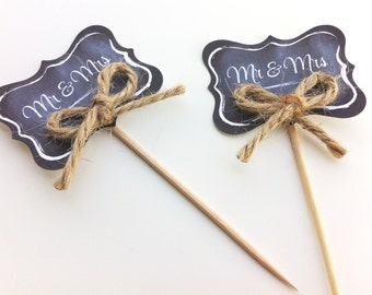Wedding Chalkboard Cupcake Toppers / Food Picks / Canapes - Mr & Mrs
