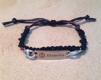 Medical Alert Diabetes Bracelet, Macrame, interchangeable, Adjustable (without Tag)