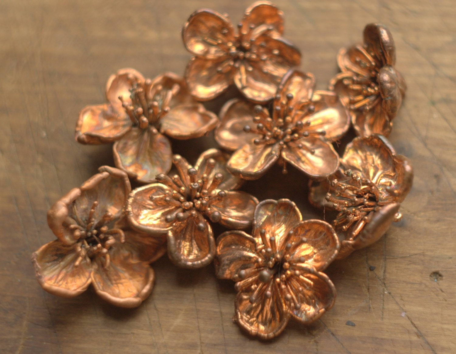 Real Cherry Flowers Electroformed With Copper Copper Dipped