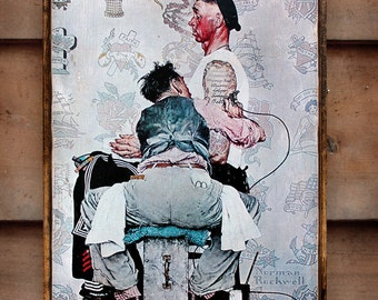 Vintage wooden sign 'The Tattooist' Norman Rockwell reproduction