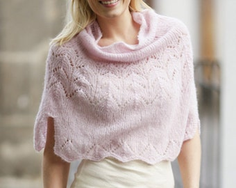 Hand Knitted Women Poncho/shawl in alpaca silk / made to order