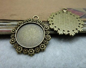 10pcs  Antique bronze 20mm bezel Cup Pendant Trays Jewelry findings connector link  bC7973