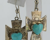 "Vintage Native American Sterling Silver Turquoise Engraved, Heart 0.75"" x 1.50"" Earrings 5.2g  NA2298"