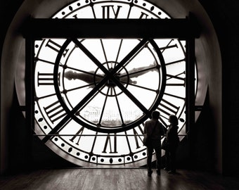 Paris Musée d'Orsay Clock Photograph, Silhouette in French Art Museum, Wall Art, Home Decor, Photography, Print: Do You Have the Time?