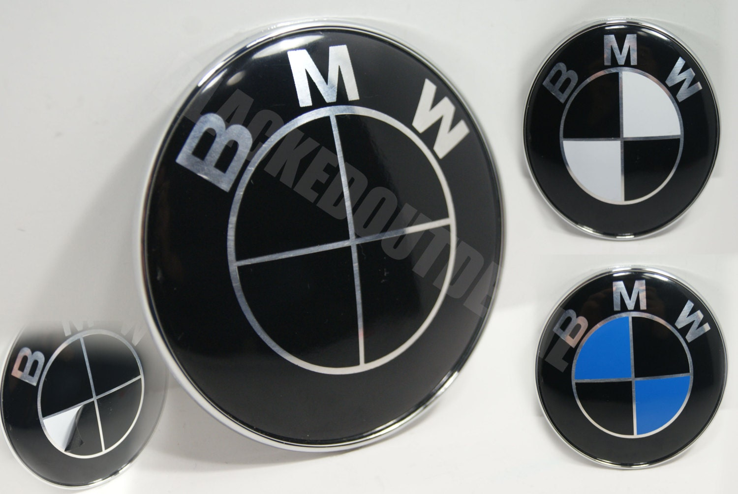 BMW Black Emblem Vinyl Overlay Rims Hood Trunk Steering Wheel - Bmw decals for wheels