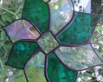 Stained glass suncatcher, teal, clear iridescent, bevel in middle