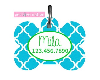 Personalized Pet Tag, Dog Tag, ID Tag, Preppy Quatrefoil Pet Tag With Name And Phone Number