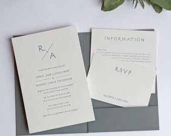 Monogram Pocketfold Letterpress Wedding Invitation Sample