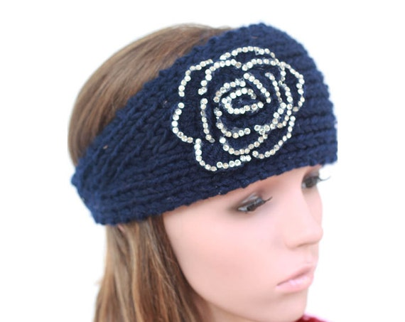 Hand Knitted Headbands Patterns : Hand-Navy Blue Knitted Headband Jeweled Ear Warmer Button