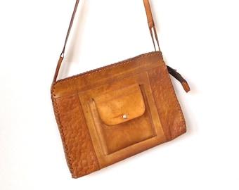 Vintage Tan Leather Bag , Boho style ,Woman handbag ,1970s