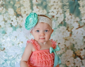Coral & Aqua Lace Petti Romper Set ~ Smash Cake Outfit ~ Couture Headband Romper Set ~ Feathers and Lace